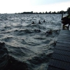 Golfen slaan over de steiger